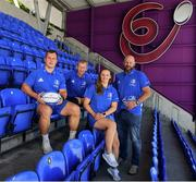 16 July 2019; Leinster Rugby this morning confirmed a first ever double-header in Energia Park on the 17th August 2019 to kick start the Leinster season. At 3.00pm Leo Cullen's defending Guinness PRO14 champions will play their first game of the Bank of Ireland Pre-Season Schedule against Coventry, while at 5.30pm Ben Armstrong's defending Interprovincial Women's Champions will get the defence of their title underway against Connacht. Tickets are now on sale at leinsterrugby.ie with prices starting from €5 for junior tickets and €10 for adult tickets. At the announcement this morning in Energia Park, were from left, Ed Byrne of Leinster, Leinster head coach Leo Cullen, Michelle Claffey of Leinster and Leinster Women's head coach Ben Armstrong. Photo by Sam Barnes/Sportsfile