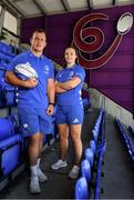 16 July 2019; Leinster Rugby this morning confirmed a first ever double-header in Energia Park on the 17th August 2019 to kick start the Leinster season. At 3.00pm Leo Cullen's defending Guinness PRO14 champions will play their first game of the Bank of Ireland Pre-Season Schedule against Coventry, while at 5.30pm Ben Armstrong's defending Interprovincial Women's Champions will get the defence of their title underway against Connacht. Tickets are now on sale at leinsterrugby.ie with prices starting from €5 for junior tickets and €10 for adult tickets. At the announcement this morning in Energia Park, were Ed Byrne and Michelle Claffey of Leinster. Photo by Sam Barnes/Sportsfile