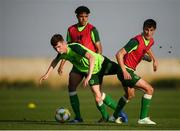 16 July 2019; Conor Grant in action against Andrew Omobamidele and Barry Coffey, right, during a Republic of Ireland training session at Vagharshapat Football Academy during the 2019 UEFA European U19 Championships in Yerevan, Armenia. Photo by Stephen McCarthy/Sportsfile