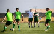 16 July 2019; Republic of Ireland U21 head coach Stepehen Kenny, left, and U19 head coach Tom Mohan watch on during a training session at Vagharshapat Football Academy during the 2019 UEFA European U19 Championships in Yerevan, Armenia. Photo by Stephen McCarthy/Sportsfile