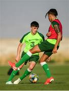 16 July 2019; Barry Coffey, left, and Tyreik Wright during a Republic of Ireland training session at Vagharshapat Football Academy during the 2019 UEFA European U19 Championships in Yerevan, Armenia. Photo by Stephen McCarthy/Sportsfile