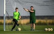 16 July 2019; Brian Maher and goalkeeping coach Dermot O'Neill during a Republic of Ireland training session at Vagharshapat Football Academy during the 2019 UEFA European U19 Championships in Yerevan, Armenia. Photo by Stephen McCarthy/Sportsfile