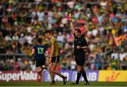 14 July 2019; David Clifford of Kerry is shown a yellow card by referee Sean Hurson during the GAA Football All-Ireland Senior Championship Quarter-Final Group 1 Phase 1 match between Kerry and Mayo at Fitzgerald Stadium in Killarney, Kerry. Photo by Eóin Noonan/Sportsfile