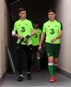 17 July 2019; Brian Maher, left, and Jack James arrive for a Republic of Ireland training session ahead of their second group game of the 2019 UEFA European U19 Championships at the FFA Technical Centre in Yerevan, Armenia. Photo by Stephen McCarthy/Sportsfile