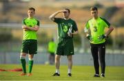 17 July 2019; Republic of Ireland head coach Tom Mohan with Andy Lyons and Brian Maher during a training session ahead of their second group game of the 2019 UEFA European U19 Championships at the FFA Technical Centre in Yerevan, Armenia. Photo by Stephen McCarthy/Sportsfile