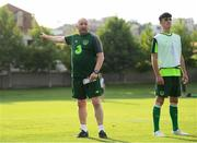 17 July 2019; Republic of Ireland assistant coach Mick Neville and Barry Coffey during a Republic of Ireland training session ahead of their second group game of the 2019 UEFA European U19 Championships at the FFA Technical Centre in Yerevan, Armenia. Photo by Stephen McCarthy/Sportsfile
