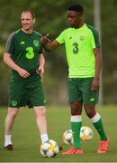 17 July 2019; Jonathan Afolabi and assistant coach Colin Healy during a Republic of Ireland training session ahead of their second group game of the 2019 UEFA European U19 Championships at the FFA Technical Centre in Yerevan, Armenia. Photo by Stephen McCarthy/Sportsfile