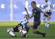 17 July 2019; Dane Massey of Dundalk in action against Tomislav Sharic of Riga during the UEFA Champions League First Qualifying Round 2nd Leg match between Riga and Dundalk at Skonto Stadium in Riga, Latvia. Photo by Roman Koksarov/Sportsfile