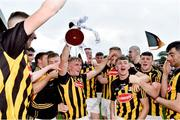 17 July 2019; Mikey Butler of Kilkenny celebrates with the cup and team-mates following the Bord Gais Energy Leinster GAA Hurling U20 Championship Final match between Kilkenny and Wexford at Innovate Wexford Park in Wexford. Photo by Matt Browne/Sportsfile