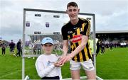 17 July 2019; David Blanchfield of Kilkenny is presented with his Bord Gáis Energy Man of the Match award from Karla O'Neill, age 8 from Wexford following the Bord Gais Energy Leinster GAA Hurling U20 Championship Final match between Kilkenny and Wexford at Innovate Wexford Park in Wexford. Photo by Matt Browne/Sportsfile