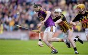 17 July 2019; Cathal O'Connor of Wexford in action against Sean Ryan and Aaron Brennan of Kilkenny during the Bord Gais Energy Leinster GAA Hurling U20 Championship Final match between Kilkenny and Wexford at Innovate Wexford Park in Wexford. Photo by Matt Browne/Sportsfile