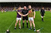 17 July 2019; Referee Mick Murtagh with Charlie McGuckin captain of Wexford and Evan Shefflin captain of Kilkenny before the Bord Gais Energy Leinster GAA Hurling U20 Championship Final match between Kilkenny and Wexford at Innovate Wexford Park in Wexford. Photo by Matt Browne/Sportsfile