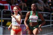 18 July 2019; Patience Jumbo-Gula of Ireland, right, and Julia Polak of Poland competing in the Women's 100m qualifying rounds during Day One of the European Athletics U20 Championships in Borås, Sweden. Photo by Giancarlo Colombo/Sportsfile