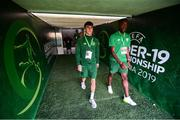 18 July 2019; Barry Coffey, left, and Jonathan Afolabi of Republic of Ireland prior to the 2019 UEFA European U19 Championships Group B match between Republic of Ireland and France at Banants Stadium in Yerevan, Armenia. Photo by Stephen McCarthy/Sportsfile