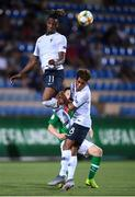 18 July 2019; Charles Abi, 11, and Julien Ponceau of France in action against Andy Lyons of Republic of Ireland during the 2019 UEFA European U19 Championships Group B match between Republic of Ireland and France at Banants Stadium in Yerevan, Armenia. Photo by Stephen McCarthy/Sportsfile