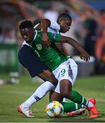 18 July 2019; Jonathan Afolabi of Republic of Ireland and Pierre Kalulu of France during the 2019 UEFA European U19 Championships Group B match between Republic of Ireland and France at Banants Stadium in Yerevan, Armenia. Photo by Stephen McCarthy/Sportsfile
