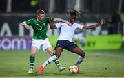 18 July 2019; Charles Abi of France in action against Kameron Ledwidge of Republic of Ireland during the 2019 UEFA European U19 Championships Group B match between Republic of Ireland and France at Banants Stadium in Yerevan, Armenia. Photo by Stephen McCarthy/Sportsfile