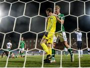 18 July 2019; Republic of Ireland goalkeeper Brian Maher is congratulated by team-mate Mark McGuinness on making a first half save during the 2019 UEFA European U19 Championships Group B match between Republic of Ireland and France at Banants Stadium in Yerevan, Armenia. Photo by Stephen McCarthy/Sportsfile