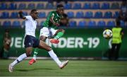 18 July 2019; Jonathan Afolabi of Republic of Ireland has a shot on goal despite the efforts of Pierre Kalulu of France during the 2019 UEFA European U19 Championships Group B match between Republic of Ireland and France at Banants Stadium in Yerevan, Armenia. Photo by Stephen McCarthy/Sportsfile