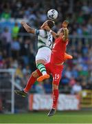 18 July 2019; Lee Grace of Shamrock Rovers in action against Veton Berisha of SK Brann during the UEFA Europa League First Qualifying Round 2nd Leg match between Shamrock Rovers and SK Brann at Tallaght Stadium in Dublin. Photo by Seb Daly/Sportsfile