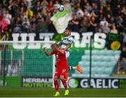 18 July 2019; Lee Grace of Shamrock Rovers in action against Gilli Rólantsson of SK Brann during the UEFA Europa League First Qualifying Round 2nd Leg match between Shamrock Rovers and SK Brann at Tallaght Stadium in Dublin. Photo by Eóin Noonan/Sportsfile