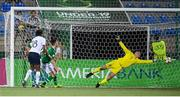 18 July 2019; Wilson Isidor of France scores his side's goal past Republic of Ireland goalkeeper Brian Maher during the 2019 UEFA European U19 Championships Group B match between Republic of Ireland and France at Banants Stadium in Yerevan, Armenia. Photo by Stephen McCarthy/Sportsfile