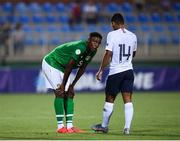 18 July 2019; Jonathan Afolabi of Republic of Ireland and Théo Ndicka Matam of France following the 2019 UEFA European U19 Championships Group B match between Republic of Ireland and France at Banants Stadium in Yerevan, Armenia. Photo by Stephen McCarthy/Sportsfile