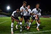 18 July 2019; France players, from left, Pierre Kalulu, Wilson Isidor, Alexis Flips and Nathan Ngoumou of France celebrate following the 2019 UEFA European U19 Championships Group B match between Republic of Ireland and France at Banants Stadium in Yerevan, Armenia. Photo by Stephen McCarthy/Sportsfile