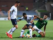 18 July 2019; Ali Reghba of Republic of Ireland in action against Théo Ndicka Matam and Bridge Ndilu, left, of France during the 2019 UEFA European U19 Championships Group B match between Republic of Ireland and France at Banants Stadium in Yerevan, Armenia. Photo by Stephen McCarthy/Sportsfile