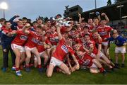 18 July 2019; Cork captain Peter O'Driscoll and his team-mates celebrate with the cup following the EirGrid Munster GAA Football U20 Championship Final match between Cork and Kerry at Páirc Ui Rinn in Cork. Photo by Matt Browne/Sportsfile