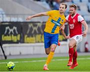 18 July 2019; Lars Krogh Gerson of IFK Norrköping in action against Conor Clifford of St Patrick's Athletic during the UEFA Europa League First Qualifying Round 2nd Leg match between IFK Norrköping and St Patrick's Athletic at Norrköpings Idrottsparken in Norrkoping, Sweden. Photo by Peter Holgersson/Sportsfile