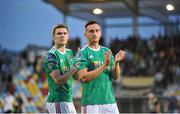 18 July 2019; Garry Buckley and Conor McCarthy of Cork City applaud supporters after the UEFA Europa League First Qualifying Round 2nd Leg match between Progres Niederkorn and Cork City at Stade Municipal de Differdange, Differdange, Luxembourg. Photo by Doug Minihane/Sportsfile