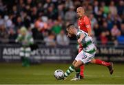 18 July 2019; Jack Byrne of Shamrock Rovers shoots to score his side's first goal, despite the attempts of Ruben Kristiansen of SK Brann, during the UEFA Europa League First Qualifying Round 2nd Leg match between Shamrock Rovers and SK Brann at Tallaght Stadium in Dublin. Photo by Seb Daly/Sportsfile