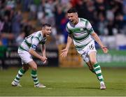 18 July 2019; Gary O'Neill of Shamrock Rovers, right, celebrates after scoring his side's second goal during the UEFA Europa League First Qualifying Round 2nd Leg match between Shamrock Rovers and SK Brann at Tallaght Stadium in Dublin. Photo by Seb Daly/Sportsfile