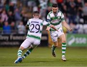 18 July 2019; Gary O'Neill of Shamrock Rovers, right, celebrates after scoring his side's second goal, with team-mate Jack Byrne, during the UEFA Europa League First Qualifying Round 2nd Leg match between Shamrock Rovers and SK Brann at Tallaght Stadium in Dublin. Photo by Seb Daly/Sportsfile