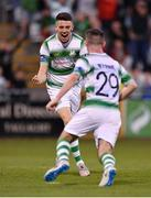 18 July 2019; Gary O'Neill of Shamrock Rovers, left, celebrates with team-mate Jack Byrne, after scoring his side's second goal during the UEFA Europa League First Qualifying Round 2nd Leg match between Shamrock Rovers and SK Brann at Tallaght Stadium in Dublin. Photo by Seb Daly/Sportsfile