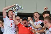 14 July 2019; Tyrone kitman Gerard O'Neill lifts the trophy after the EirGrid Ulster GAA Football U20 Championship Final match between Derry and Tyrone at Athletic Grounds in Armagh. Photo by Piaras Ó Mídheach/Sportsfile