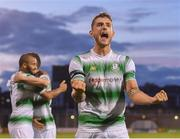 18 July 2019; Lee Grace of Shamrock Rovers celebrates following his side's victory the UEFA Europa League First Qualifying Round 2nd Leg match between Shamrock Rovers and SK Brann at Tallaght Stadium in Dublin. Photo by Seb Daly/Sportsfile