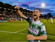 18 July 2019; Jack Byrne of Shamrock Rovers celebrates following his side's victory during the UEFA Europa League First Qualifying Round 2nd Leg match between Shamrock Rovers and SK Brann at Tallaght Stadium in Dublin. Photo by Seb Daly/Sportsfile