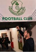 18 July 2019; Shamrock Rovers manager Stephen Bradley following his side's victory during the UEFA Europa League First Qualifying Round 2nd Leg match between Shamrock Rovers and SK Brann at Tallaght Stadium in Dublin. Photo by Seb Daly/Sportsfile