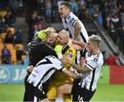17 July 2019; Gary Rogers of Dundalk, centre, celebrates with team-mates following the UEFA Champions League First Qualifying Round 2nd Leg match between Riga and Dundalk at Skonto Stadium in Riga, Latvia. Photo by Roman Koksarov/Sportsfile