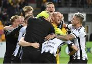 17 July 2019; Gary Rogers of Dundalk, second from right, celebrates with team-mates following the UEFA Champions League First Qualifying Round 2nd Leg match between Riga and Dundalk at Skonto Stadium in Riga, Latvia. Photo by Roman Koksarov/Sportsfile