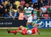 18 July 2019; Ethan Boyle of Shamrock Rovers in action against Ruben Kristiansen of SK Brann during the UEFA Europa League First Qualifying Round 2nd Leg match between Shamrock Rovers and SK Brann at Tallaght Stadium in Dublin. Photo by Seb Daly/Sportsfile