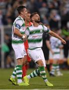 18 July 2019; Ronan Finn, left, and Greg Bolger of Shamrock Rovers celebrate following the UEFA Europa League First Qualifying Round 2nd Leg match between Shamrock Rovers and SK Brann at Tallaght Stadium in Dublin. Photo by Eóin Noonan/Sportsfile