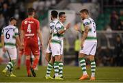 18 July 2019; Ronan Finn celebrates with Lee Grace of Shamrock Rovers following the UEFA Europa League First Qualifying Round 2nd Leg match between Shamrock Rovers and SK Brann at Tallaght Stadium in Dublin. Photo by Eóin Noonan/Sportsfile