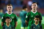 18 July 2019; Brandon Kavanagh, left, and Andy Lyons of Republic of Ireland prior to the 2019 UEFA European U19 Championships Group B match between Republic of Ireland and France at Banants Stadium in Yerevan, Armenia. Photo by Stephen McCarthy/Sportsfile
