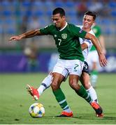 18 July 2019; Ali Reghba of Republic of Ireland and Alexis Flips of France during the 2019 UEFA European U19 Championships Group B match between Republic of Ireland and France at Banants Stadium in Yerevan, Armenia. Photo by Stephen McCarthy/Sportsfile