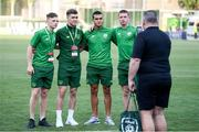 18 July 2019; Republic of Ireland players, from left, Andy Lyons, Brian Maher, Ali Reghba and Kameron Ledwidge have their photograph taken by performance analyst Martin Doyle during the 2019 UEFA European U19 Championships Group B match between Republic of Ireland and France at Banants Stadium in Yerevan, Armenia. Photo by Stephen McCarthy/Sportsfile