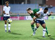 18 July 2019; Andy Lyons of Republic of Ireland and Théo Ndicka Matam of France during the 2019 UEFA European U19 Championships Group B match between Republic of Ireland and France at Banants Stadium in Yerevan, Armenia. Photo by Stephen McCarthy/Sportsfile