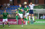 18 July 2019; Yanis Begraoui of France in action against Mark McGuinness, left, and Lee O'Connor of Republic of Ireland during the 2019 UEFA European U19 Championships Group B match between Republic of Ireland and France at Banants Stadium in Yerevan, Armenia. Photo by Stephen McCarthy/Sportsfile